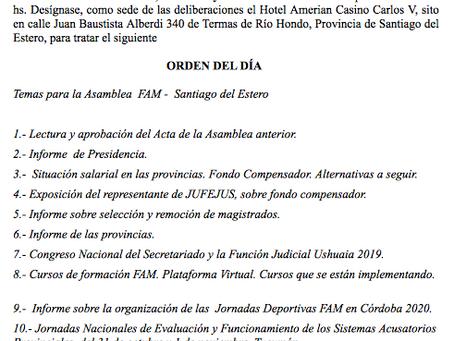 Orden del día: 112 Asamblea FAM