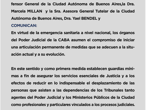 Comunicado de los Organismos del Poder Judicial de CABA