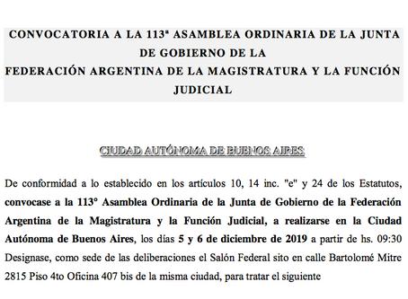 Convocatoria - 113 Asamblea de la Junta de Gobierno de FAM
