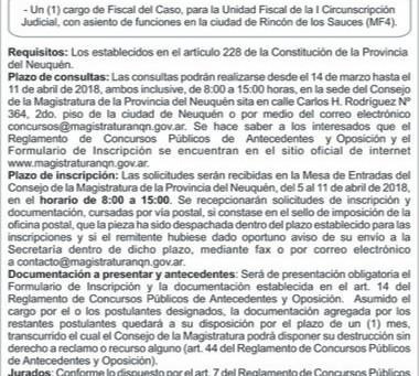 Consejo de la Magistratura de Neuquén – Convocatoria Concurso N°140