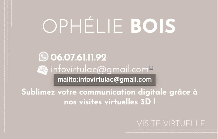 Carte de visite VERSO Ophélie Bois