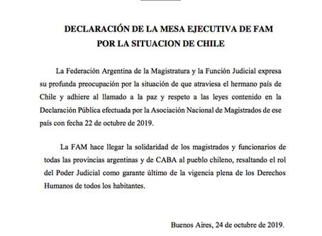 Declaración de la Mesa Ejecutiva de FAM por la situación de Chile