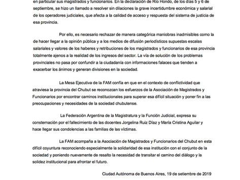Comunicado FAM sobre situación en la Provincia de Chubut - Sept 2019