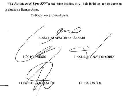 Declaración de la Suprema Corte de Justicia de la Provincia de Buenos Aires.