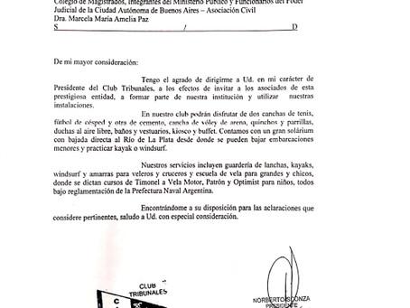 Invitación Club Naútico Tribunales -  San Isidro