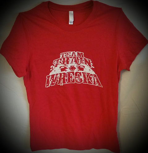 "Ladies Red ""Team Train Wrecka"" T-Shirt"
