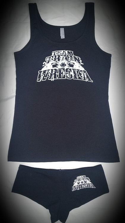Ladies Black Tank Top/Boy Short Set
