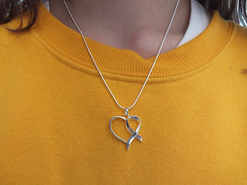 Silver Heart and Bow Awareness Necklace