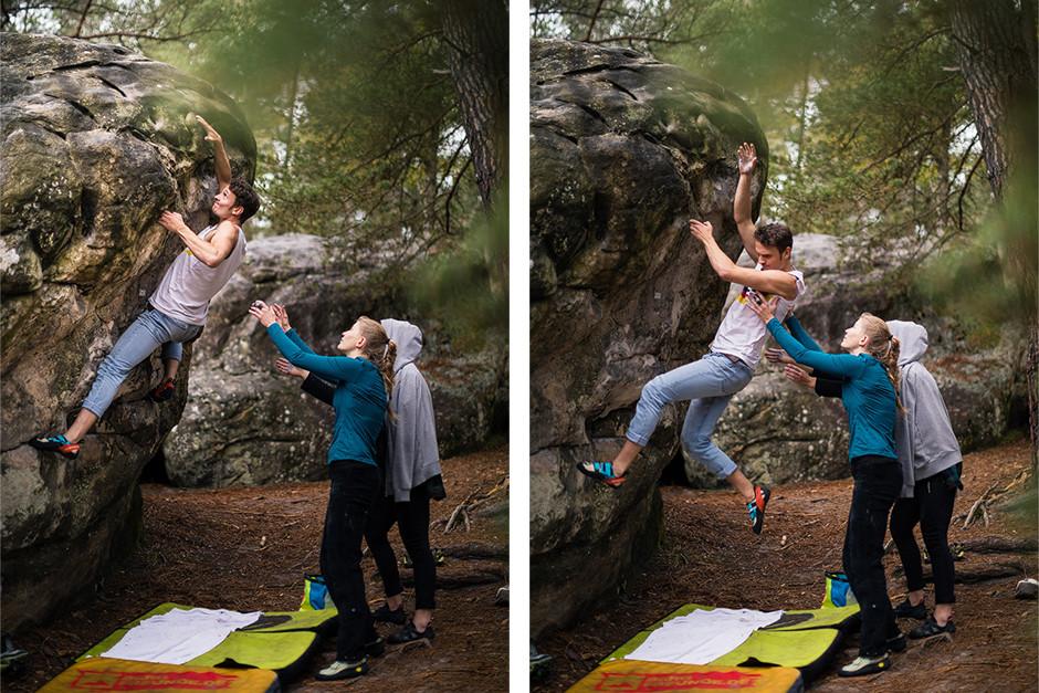 Der Augenblick, kurz vor dem finalen Zug und der Moment des Scheiterns liegen oft sehr nah beieinander. Bouldern Sportfotografie bastianpaas.de