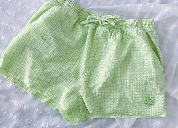 Seersucker Raw Hem Shorts