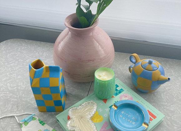 Checkered Milk Carton Vase