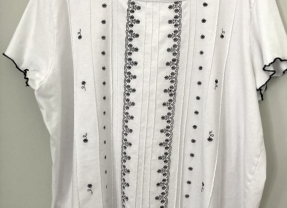 Black and White Embroidered Tee