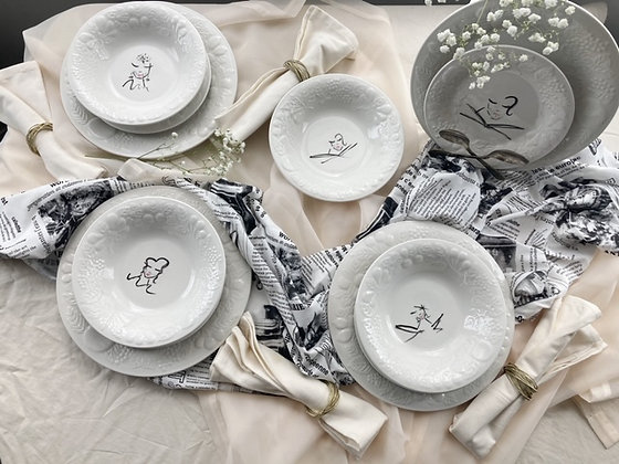 The Dinner Guests Painted Plate Set