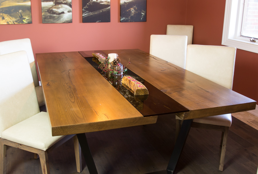 Solid oak river table