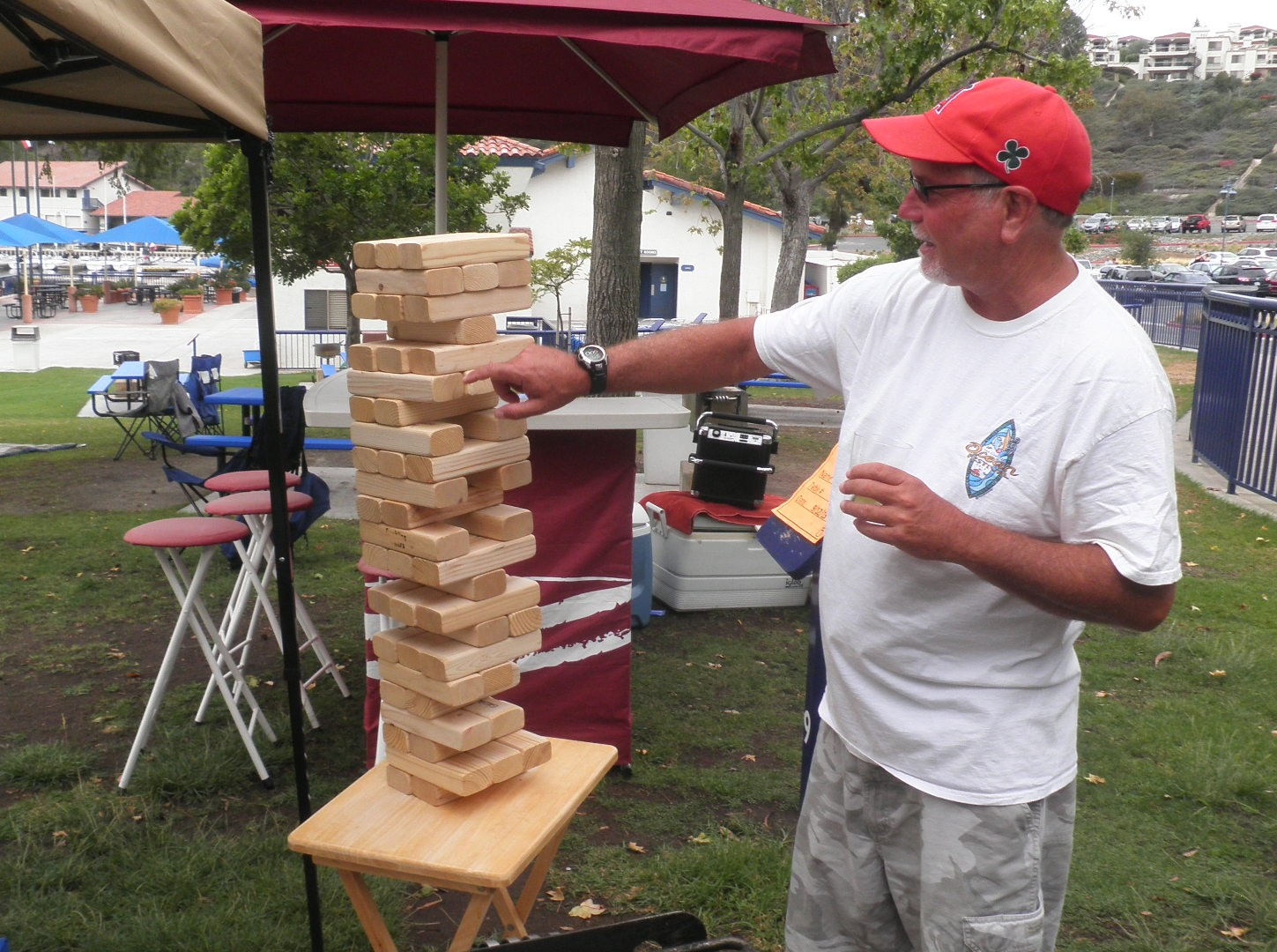 Larry McGrail demonstrating how to play Tumbling   Towers
