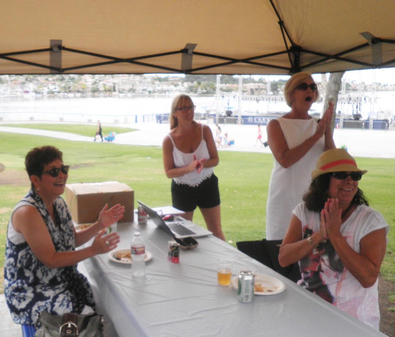 Irene Miller, Gerri Burt, Melissa Rogers and Audrey  Schultz react to a turn of