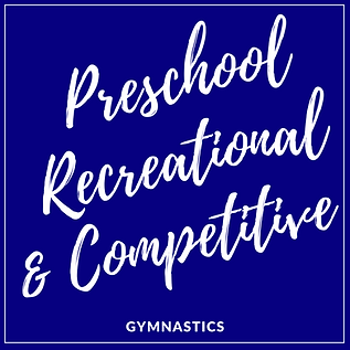 """Blue box that contains white writing that says """"Preschool, Recreational, & Competitive Gymnastics"""""""