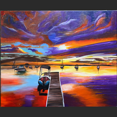 """Purple Sunset by the Pier 19.7"""" x 23.6""""-DTE.png"""