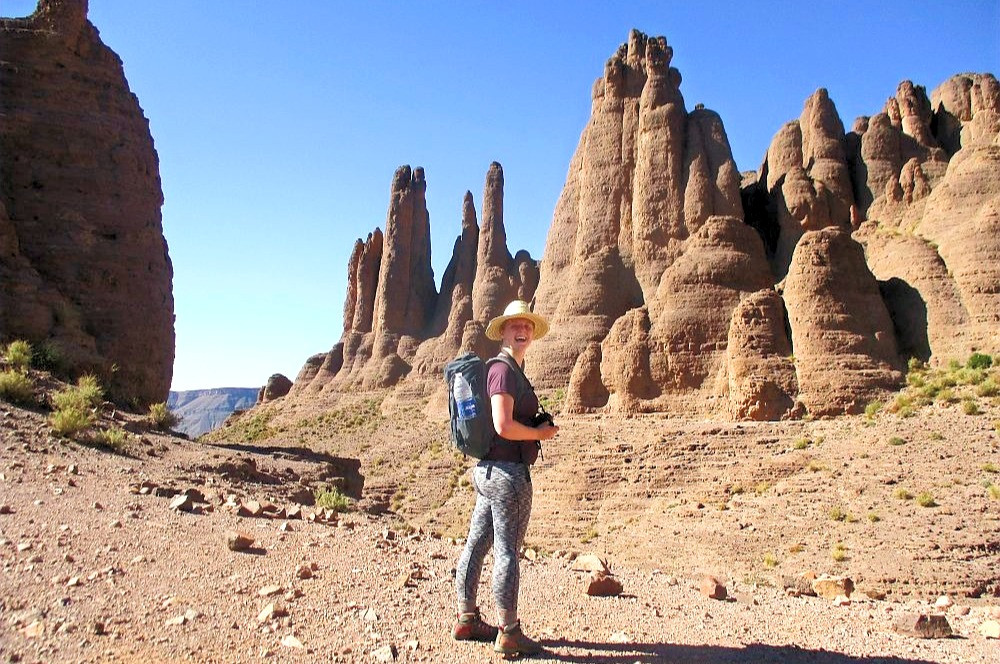 Girl in the middle of rock formation