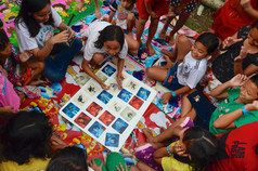 YE Mobile Library Programme playing games
