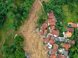 YE Disaster Relief and Recover aerial photo of destroyed village