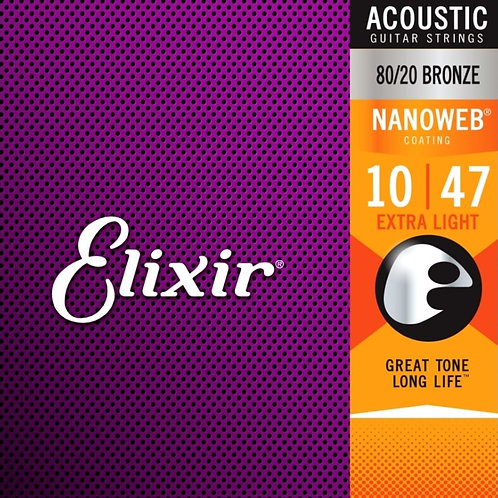 Elixir Extra Light 80/20 Bronze Nanoweb 11002 Coated 10-47