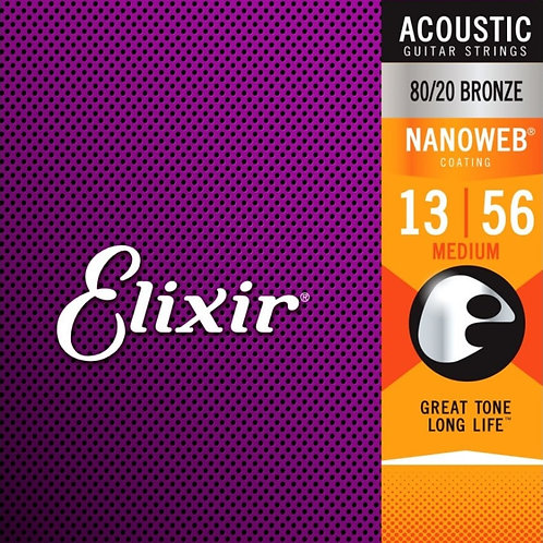 Elixir Medium 80/20 Bronze Nanoweb 11102 Coated 13-56