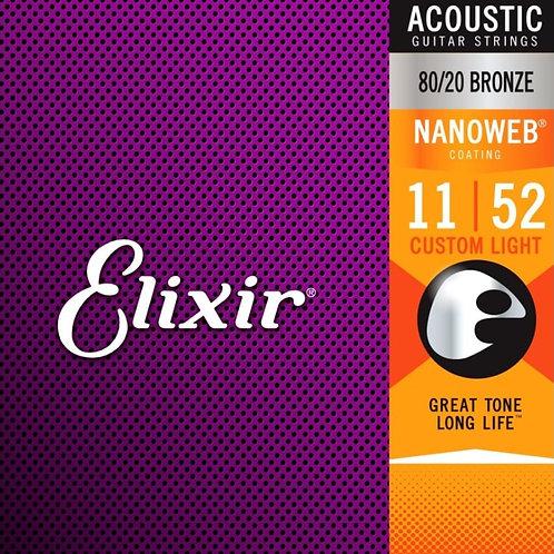 Elixir Custom Light 80/20 Bronze Nanoweb 11027 Coated 11-52