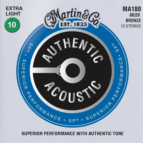 Martin Extra Light 12 String 80/20 Bronze SP Authentic Acoustic MA180 10-47