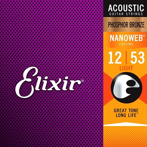Elixir Light Phosphor Bronze Nanoweb 16052 Coated 12-53