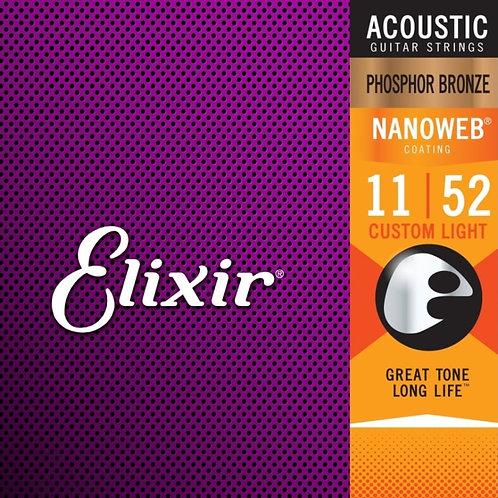 Elixir Custom Light Phosphor Bronze Nanoweb 16027 Coated 11-52