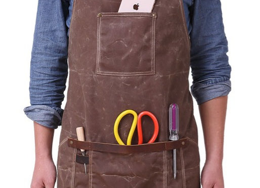 Canvas Apron with Leather Trim