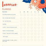 Orange and Navy Blue Floral Chore Chart