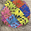 Thumbnail:   Peacock multicolored satin bonnet