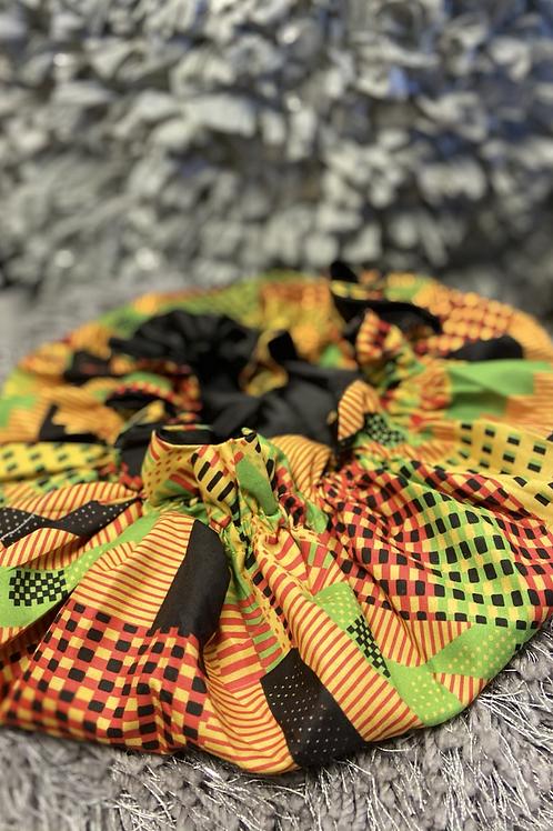 African inspired satin bonnet(green,red, mustard)