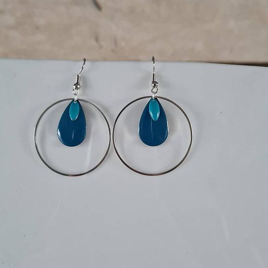 Boucles d'oreilles avec sequin bleu