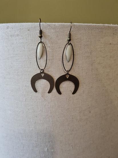 Boucles d'oreilles bronze et crème