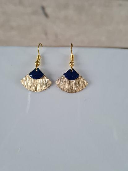Boucles d'oreilles or et bleu marine
