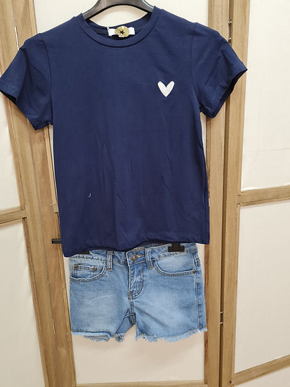 Tee shirt bleu marine cœur