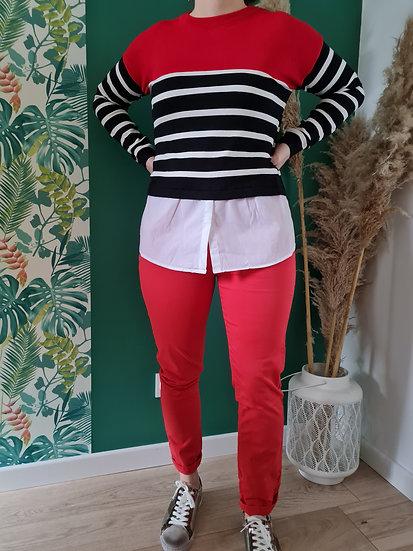 Pull chemise rayé rouge noir blanc
