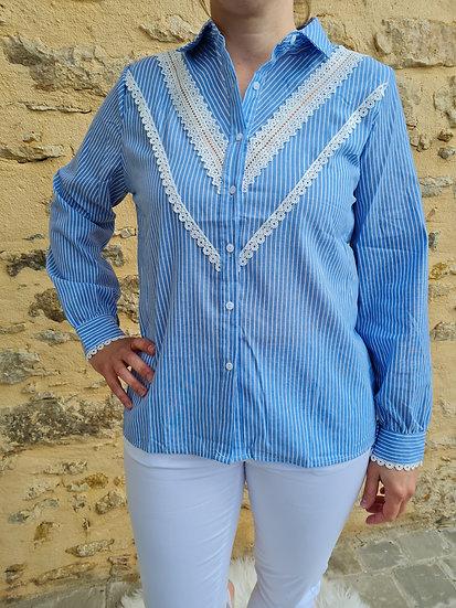 Chemise bleue dentelle blanche