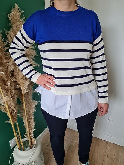 Pull chemise rayé bleu