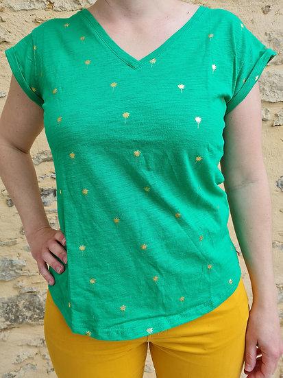 Tee shirt vert palmier