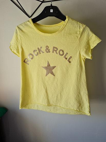 Tee shirt manche courte jaune rock and roll