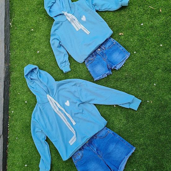Sweat bleu cordon dentelle