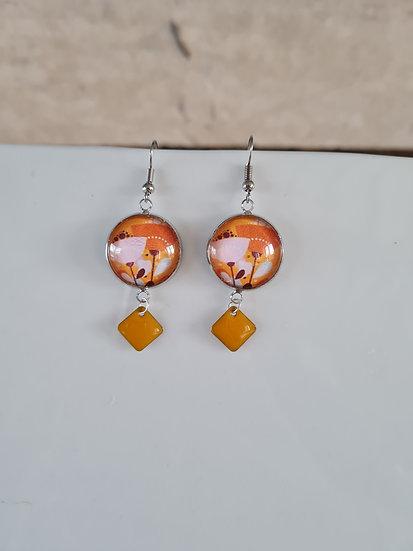 Boucles d'oreilles cabochon jaune/orange