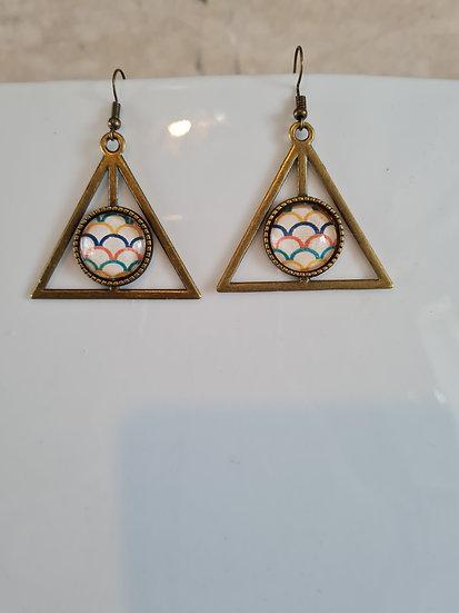 Boucle d'oreille cabochon triangle