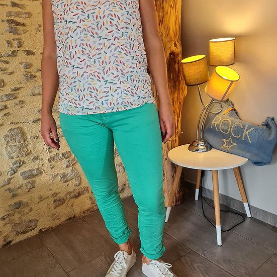 Pantalon vert 4 boutons