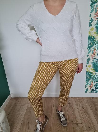 Pantalon 7/8ème jaune à motifs