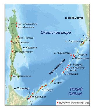 Карта распределения изученых термальных источников и их групп на территории Сахалинской области